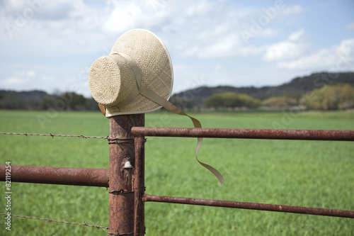 Old fashioned straw bonnet on fence post in Texas Hill Country ...