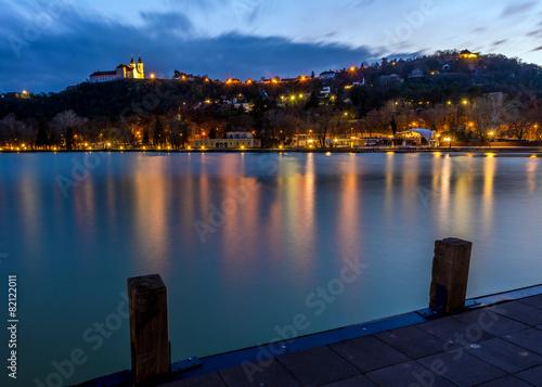 Photo  Tihany Abbey at evening by Lake Balaton, Hungary.