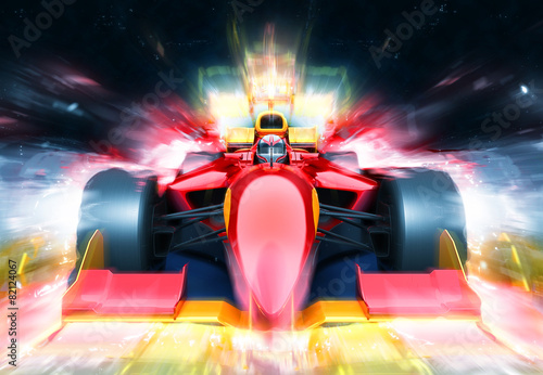 Ingelijste posters F1 F1 bolide with light effect