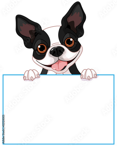 Printed kitchen splashbacks Fairytale World Boston terrier sign