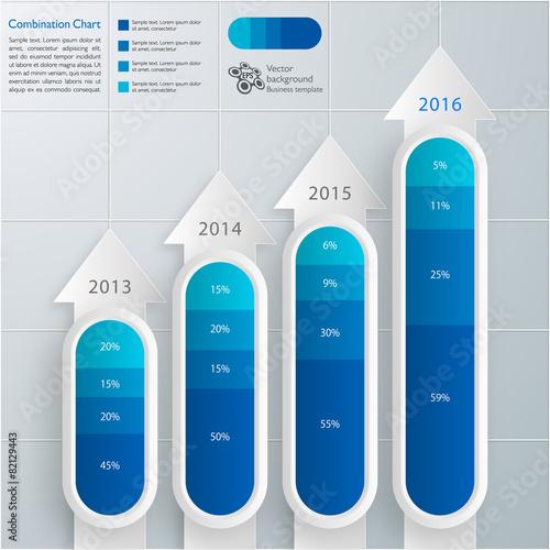 Fotografía  Infographics Vector Background Combination Chart