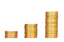Stacks Of Coins Isolated On White Background