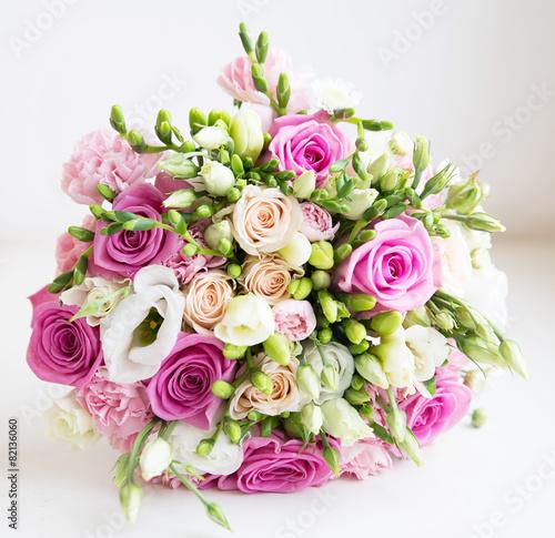 obraz lub plakat Ślub bukiet z różowych fower róż