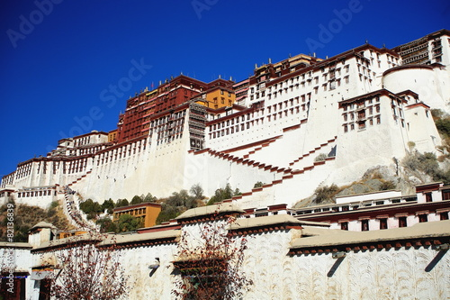 Fotografie, Obraz  The Potala and surrounding wall. Lhasa-Tibet. 1362