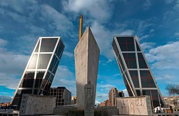Twin leaning towers in Puerta de Europa in Madrid