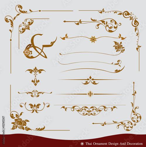 Foto  Vektorsatz des thailändischen Verzierungsdesigns und -dekoration