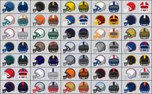 Icons Of American Football Helmets. Vector Illustration.
