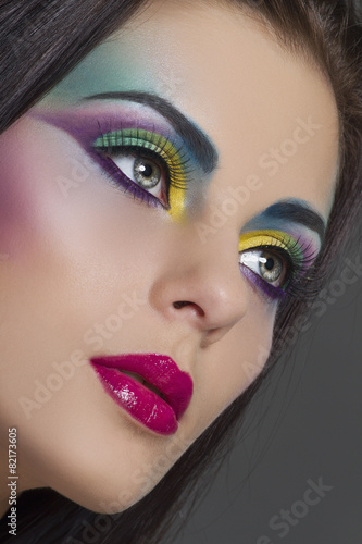 Garden Poster Beauty Beautiful woman with bright colourful makeup
