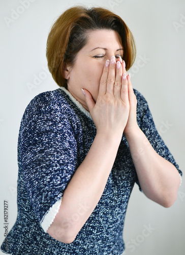 Fotografia, Obraz  Adult woman with a runny nose