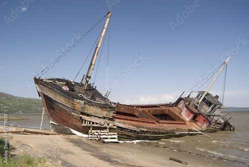Full View of a Shipwreck on the Beach