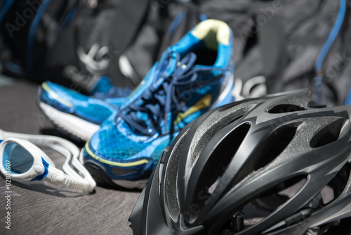 Triathlon Equipment Wallpaper Mural