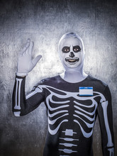 Caucasian Man Wearing Skeleton Costume