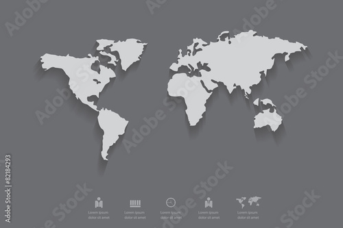 Gray Color Of World Map With Shadow Eps 10 Vector Buy This Stock