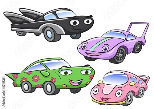 Staande foto Cartoon cars Vector illustration of cute cartoon car characters