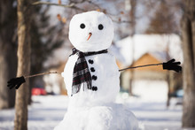 Snowman Wearing Scarf Outdoors