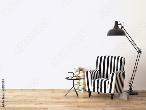 Fotografie, Obraz  raum mit einem sessel