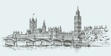 Fototapeta Londyn - Big Ben. Vector drawing