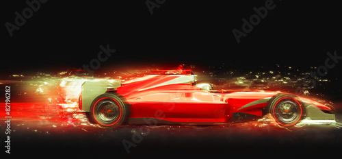 La pose en embrasure F1 Formula One race car with light effect