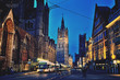 canvas print picture - Ghent city center at night