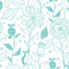 Vector Aqua Lineart Flowers Se...