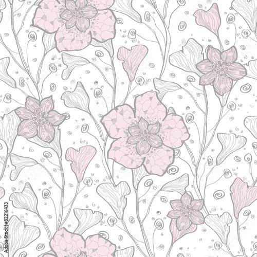 Fototapeta na wymiar Vector magical lace flowers seamless pattern background