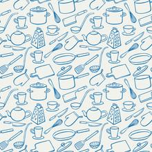 Background With Blue Kitchen Utensils