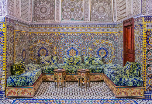 Fotografie, Obraz  Courtyard decorated with mosaic and carvings in a Moroccan riad