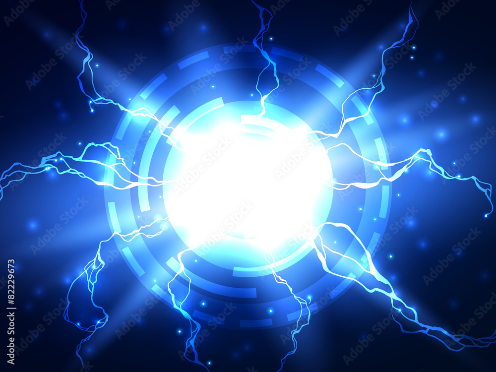 Abstract Blue Lightning Vector Science Background Foto