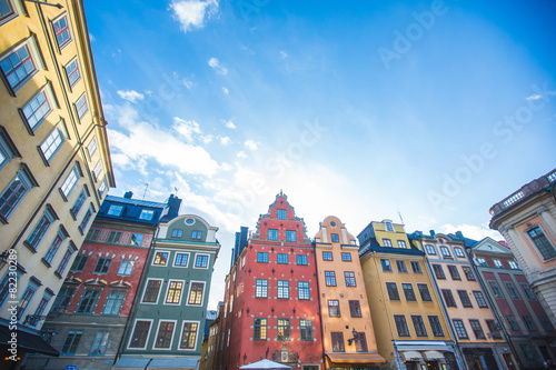 Photo  Colorful houses in Stockholm old town