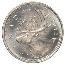 25 Canadian Cents Coin Isolate...