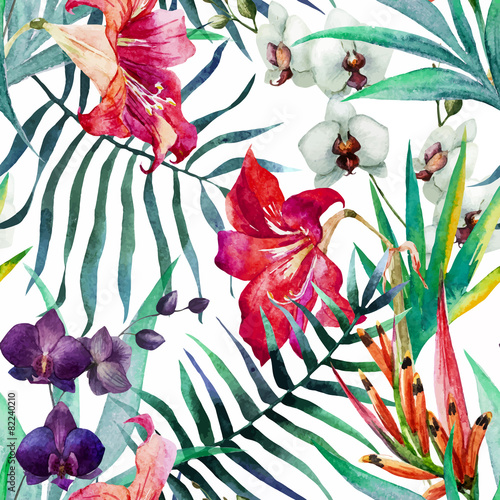 Cotton fabric Tropical pattern