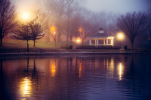 Foggy Night Scene At Pond With...