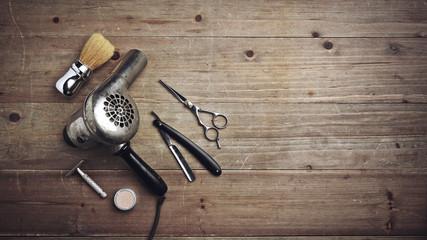 Vintage barber equipment on...