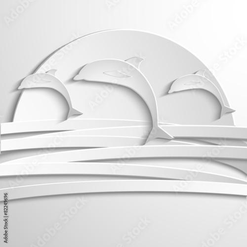 Fotografie, Obraz  Vector card with dolphin. Abstract silhouette. 3D elements