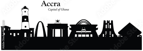 Photo Vector illustration of cityscape of Accra, Ghana
