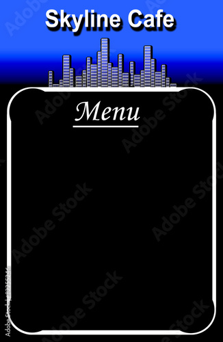 Cafe menu board in black and blue with skyline design and copy s Canvas Print