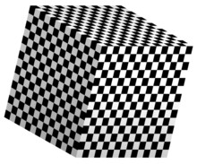 3D Cube With Checkered Polygons