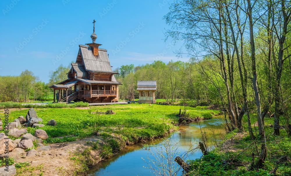 Fototapety, obrazy: Wooden church on holy spring