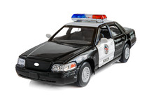 Model Of The Patrol Car Of Police On A White Background.