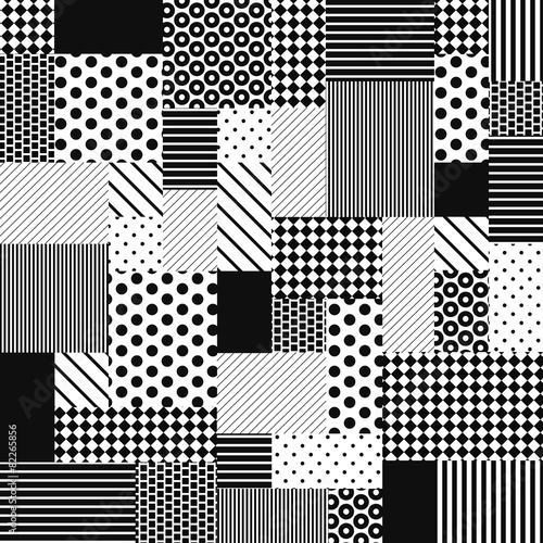 Abstract Black and White Patchwork Fototapete