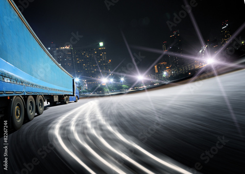 Fotobehang Tokyo White truck on the highway