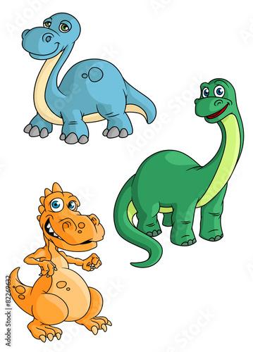 Poster Creatures Cute cartoon green, blue and orange dinosaur mascots