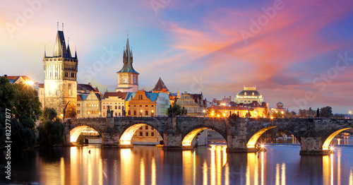 Staande foto Praag Prague - Charles bridge, Czech Republic