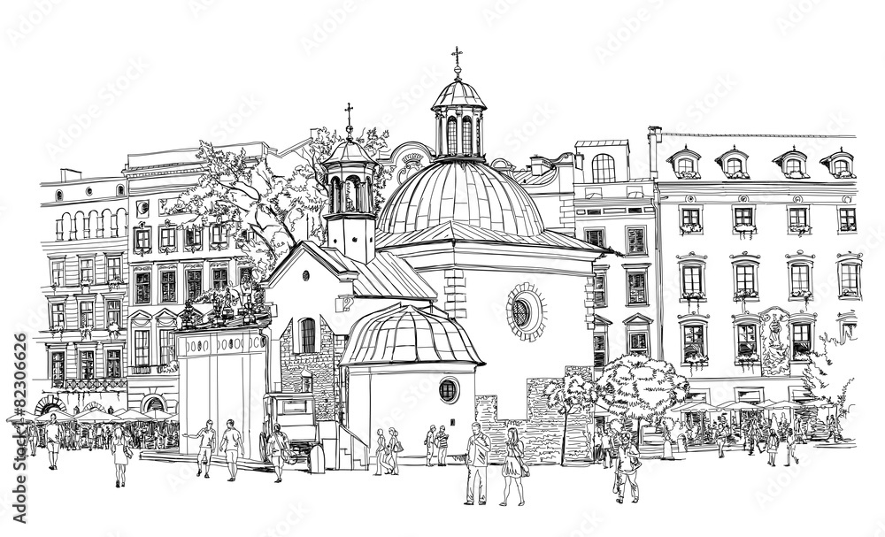 Fototapeta The town square in Krakow. Poland. Black & white vector sketch