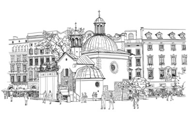 Obraz na PlexiThe town square in Krakow. Poland. Black & white vector sketch