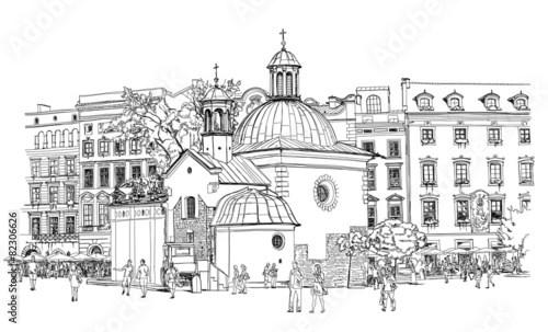 The town square in Krakow. Poland. Black & white vector sketch - 82306626