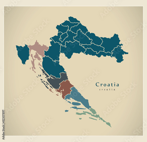 Obraz na plátně Modern Map - Croatia with counties HR