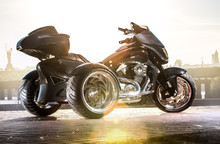 Black Trike Standing On The Light Street
