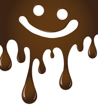 Vector Of Melted Chocolate Dripping With Smiley Face