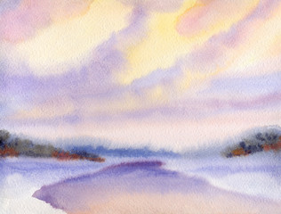 FototapetaWatercolor winter landscape. Evening sky over lake